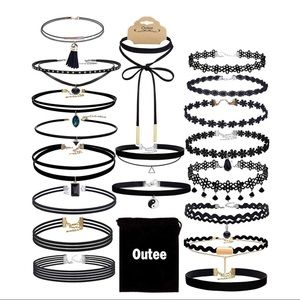 20 Pcs Black Necklace Classic Chokers Set